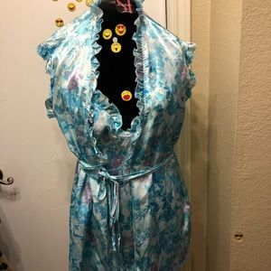 Blue Floral Silky Night Gown Set!!!